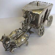 Fine Antique Solid Silver Miniature Horse Drawn Carriage Zwolle Dutch 10.5cm