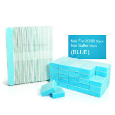 5' Wooden 80/80 Nail File & Nail Buffer Set for Manicure & Pedicure(Blue) 50 Pcs