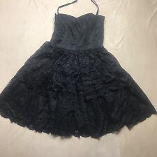 Anthropologie Anna Sui Dress Womens 10 Black Lace Layered Sleeveless A-Line EUC