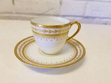 Vintage Fritz Thomas Bavaria German Porcelain Cup & Saucer w/ Raised Gold Dec.