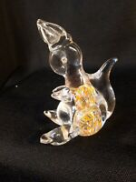 Vintage ART GLASS PAPERWEIGHT Bunny Rabbit Multi Colored Confetti Figurine