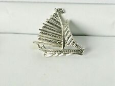 Vintage Silver Tone Marcasite Sailing Yacht Pin Brooch L9