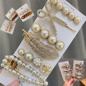 6Pcs/Set Rhinestone Hair Clips Leaves Feather Big Pearl Hairpins Barrette Clips