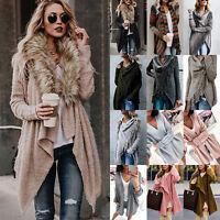 Women Open Front Drape Long Cardigan Coat Knitted Sweater Jumper Jacket Outwear