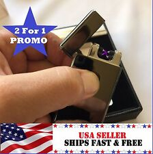 2-For-1 Gunmetal Dual Arc Electric USB Lighter Rechargeable Flameless Windproof