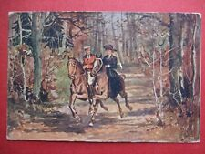 Lady Horse Side Saddle & Man In Woods October 1914 Old Advertising Postcard