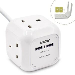 EXTRASTAR Power Cube 4 Ways Sockets With 2 x USB Charger 5V 1.5m Cable Length