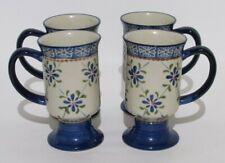 Temp-tations   Trellis Blue Pedestal Footed Mugs  Set of 4