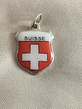 SUISSE Silver Travel Shield Enamel Charm