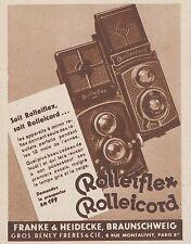 Z9643 ROLLEIFLEX - ROLLEICORD -  Pubblicità d'epoca - 1934 Old advertising
