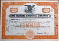 'Harrisburg Railways Company' 1943 Railroad/Trolley Stock Certificate - PA