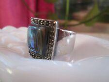 Fine Abalone Designer Marcasite Sterling Silver 925 Ring 13G Sz.8 Chunky Thai
