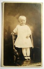 Antique Real Photo Victorian Smiling Girl With Dress On The Chair Postcard
