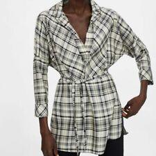 Zara Oversized Plaid Tunic Blouse Top Small NWT