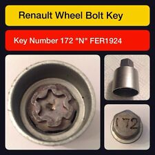 """Genuine Renault Locking Wheel Nut / Key 172 """"N"""""""