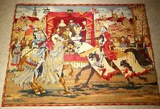 "Medieval Lists Wall Hanging TAPESTRY Tournament Joust 38""x56"" Hand Finished"