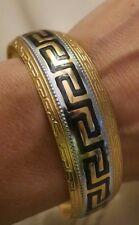 NEW Women's Cuff Fashion Bracelet Bangle jewlrey Greek Key 18K yellowGP two tone