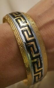 NEW Women's Cuff Fashion Bracelet Bangle jewlrey Greek Key 18K yellowGP two tone