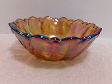 "Indiana Carnival Glass Iridescent Gold Footed Bowl 9"" Marigold"