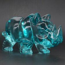"Rhinoceros Figurine Blue Ocean Obsidian Crystal Healing Statue Home Decor 6.14"""