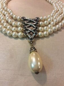 "NWT HEIDI DAUS ""Straight Laced"" Multi-Strand Pearl and Crystal Necklace"