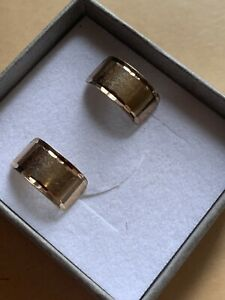 Hallmarked 9ct Solid Gold Diamond Cut 7.5mm Wide Half Hoop Wedding Ring Earrings
