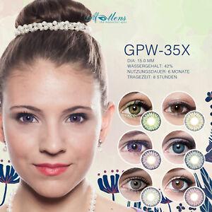 Farbige Kontaktlinsen mit Stärke Big Eyes grau braun grün blau rosa lila GPW-35X