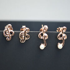 2 Pack Pair 14K/14ct Rose Gold Plated Musical Notes Pearl Stud Earrings Set Gift