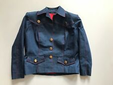 Vintage Early 80s Industrial Denim Western Style Jacket MEDIUM Emb Horse Buttons
