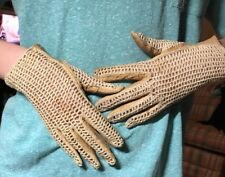 VINTAGE Almond Ivory Crocheted And Leather Gloves Size Small