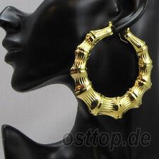 1 Parar Hoop Hiphop Bambus Grosse Ohrringe Ohrstreck Gold Neu 33627
