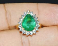 Certified Natural 6.1cts Zambian Emerald VS F Diamond 18K Solid Gold Dinner Ring