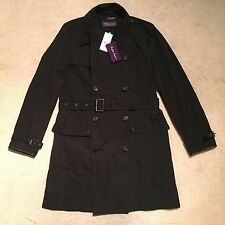 Ralph Lauren Purple Label Leather Trim Trench Coat - Black Size L RRP: £2,495.00
