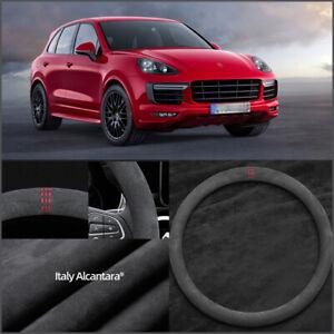 """15"""" Non-slip Black Alcantara Suede Car Steering Wheel Cover For Porsche Cayenne"""