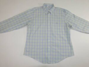 Brooks Brothers Men's 1818 Non Iron Dress Shirt Size XL Blue Yellow Button Down