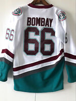 Mighty Ducks Movie Jersey #66 Gordon Bombay Hockey Jersey Stitched White