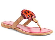 867a8daeeb071 NIB Tory Burch Miller Leather Fringe Logo Sandal Thong Tan Pink Red Orange 8