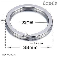 38mm*20pcs Flat  Stainless Steel  Split Key Ring Hook Silver Color Bag Hook Loop