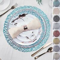6 pcs 15-Inch wide Round Vinyl String Placemats Wedding Decorations Home Party