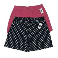 Set Of 2 NEW Gap Girls Size 14 Chino Shorts Blue Polka Dot Pink Adjustable