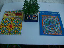 PAIR of Dover coloring books 2006 and 2008 Decorative Tile Designs AND Alhambra