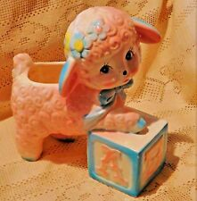 "MID-20th CENTURY ENESCO JAPAN PINK LAMB MUSIC BOX / PLANTER - ""ROCK-A-BYE BABY"""