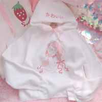 Kawaii Broderie Long Sleeve Hooded Bowknot Pullover Sweatshirts Coat Sweet Tops