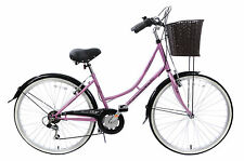 "CLASSIQUE TRADITIONAL HERITAGE LADIES DUTCH LIFESTYLE BIKE+BASKET 19"" PINK"