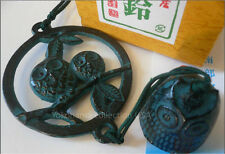 Japanese Nambu Cast Iron Owl Perch  Furin Wind Chimes With Bell/ Feng Sui/ Box