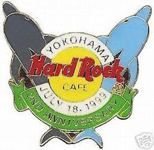 Hard Rock Cafe YOKOHAMA 1999 2nd Anniversary PIN Dolphins & Logo