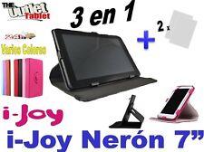 """FUNDA PARA TABLET i-joy NERÓN 7"""" FUNCION STAND LIBRO + 2 Protectores PANTALLA"""