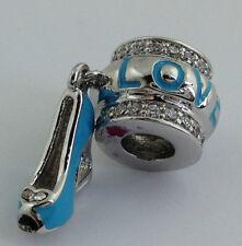 Lauren G Adams Rhodium Blue Love Shoes Charm Bead, Fits All Brands
