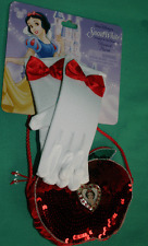 DISNEY SNOW WHITE PURSE GLOVES CHILD COSTUME RED APPLE SHAPE SEQUIN PURSE NEW