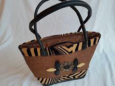 African Basket / Handbag / Tote, with Masai Beads, Handmade In Kenya BROWN - NEW